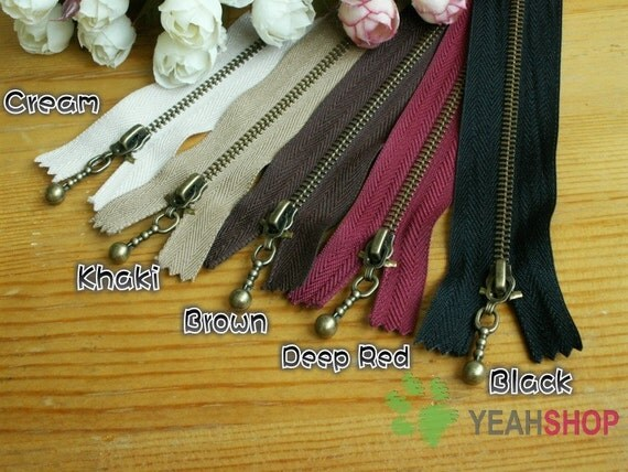 Antiqued Brass Metal Handbag Zippers - 30cm / 12 inches - Choose One Color