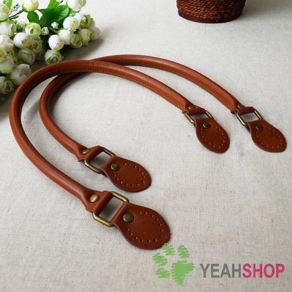 Imitation Leather Bag Handles - BROWN - 58cm / 23 inch - HD13