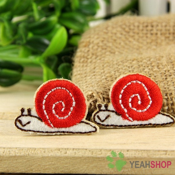 Iron on Fabric Patches - Red Snails - Set of 2 - FP14