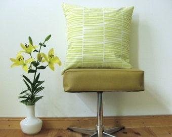"Handprinted Pillow Organic Cotton Lemon Yellow Zebraria Cushion 20 x 20"""