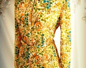 Vintage Autumn Floral Print Skirt Shirt Leslie Fay 60's 3 piece suit belt orange mustard yellow turquoise blue peach green brown white