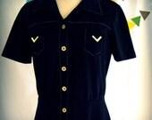 VIntage Mod Dress Black Military Short Sleeve Gold Arrow Pockets Shirtdress Medium by Sunshine Alley