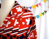 Vintage Shirt Hearts Flowers Stripes Op Art 60s Red Navy White Belted Jacket Blazer Mod
