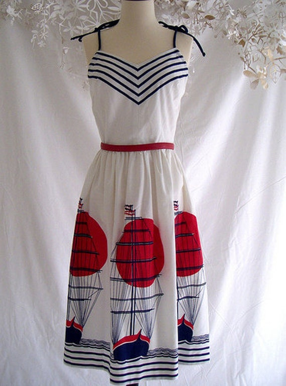 Nautical Dress Pin Up Red White Navy Ships chevron stripes 70s vintage sailor by Jenni