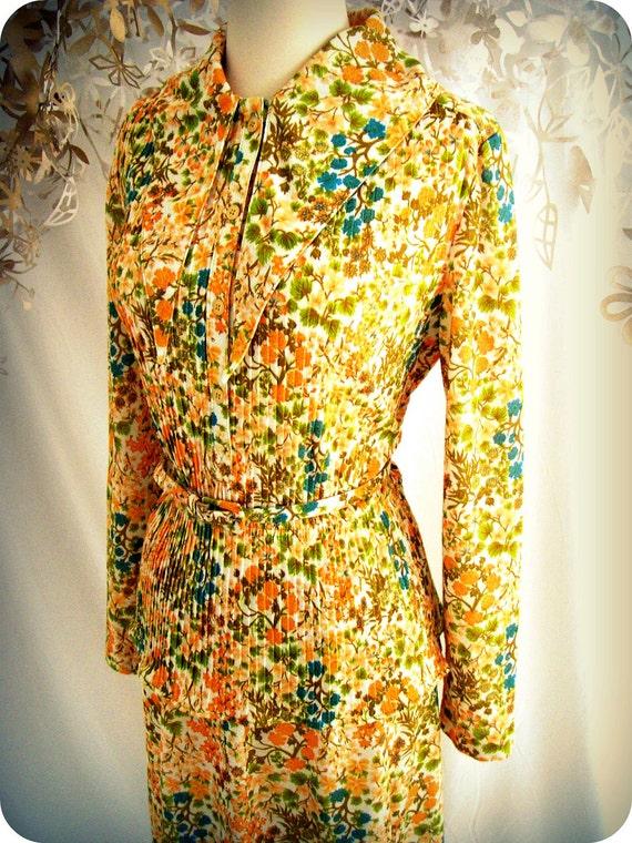 Vintage Autumn Floral Print Skirt Shirt Leslie Fay 60's 3 piece suit belt orange mustard yellow turquoise blue peach green brown white