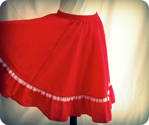Vintage Rockabilly Circle Skirt Red Square Dance Western Boho 70s Prairie Partner's Please by Malco Modes