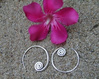 Silver Spiral Earrings - The Beginning of Life(2)