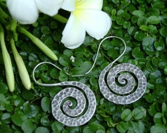 Spiral Silver Earrings - The Hammered Spirals