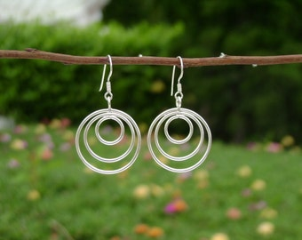 Thai Silver Earrings - The Three Ring