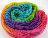 rainbow hand painted worsted weight wool yarn