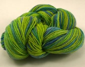 chartreuse, lapis, teal, merino hand painted fingering weight reclaimed recycled yarn - Gecko