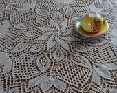 "Hand Knitted Lace Cotton tablecloth ""Mimi"", 43 inches in diameter (110 cm), Free Shipping"