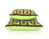 "Neon green crochet Cushion Pillow Cover set - 12'' and 15"" free shipping"