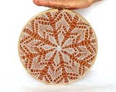 """Embroidery Hoop Art - knitted lace - wall hanging house decoration - 9"""""""