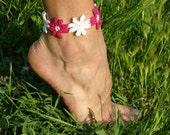 Crochet anklet bracelet flowers barefoot jewelry