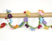 Boho flower bracelet crochet wrap bracelet, lariat rainbow multicolor jewelry