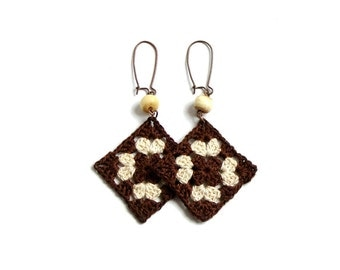Chocolate brown and beige crochet square earrings, bead decorated, cooper plated hooks