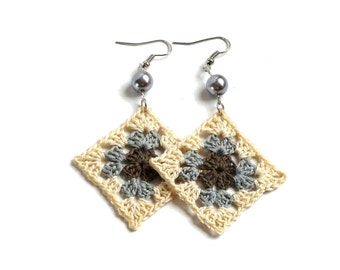 Crochet earrings in cream beige gray and browny green, bead decorated, silver plated hooks, squares earrings, fiber jewelry, textile jewelry