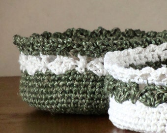 Crochet storage baskets - natural cotton with silk - 2 pieces set white and emerald green
