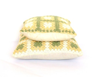 crochet cushion pillow covers set sage green butter yellow, 12x12 and 15x15 inches crochet throw pillow set, square pillowcase, spring decor