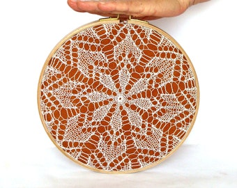 Embroidery Hoop Art - knitted lace - wall hanging house decoration - 9""