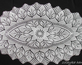 """Hand Knitted Oval Lace oval runner tablecloth, throw, centerpiece """"Deborah"""" Free Shipping"""