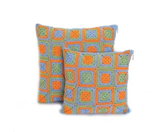 Eco friendly Crochet Cushion Pillow Covers set , two crochet cushions, throw pillows crochet, cotton pillows home decor, orange blue green