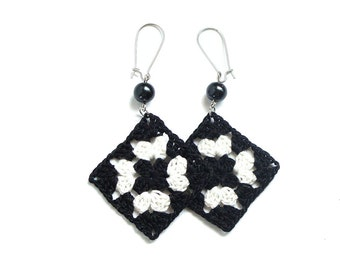 Black and white crochet square earrings , fiber earrings