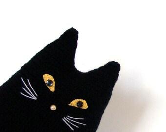Black cat toy pillow, Halloween decor crochet cushion, stuffed cat pillow, black cat decorative pillow, crochet black cat, black cat crochet