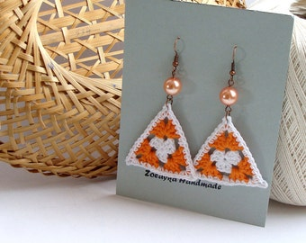 Tangerine orange and white crochet triangle earrings, granny - crochet accessories