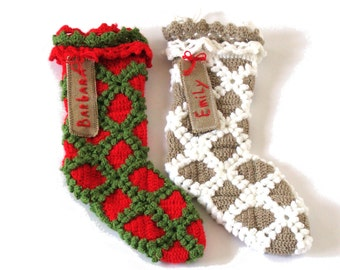 Two personalized Christmas stockings, rustic Christmas stockings - choose your color combo