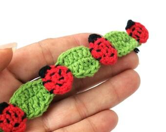 Crochet ladybug anklet bracelet, ladybird foot bracelet, textile anklet , ladybird ankle jewelry wear