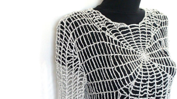 Lace top blouse - crochet - net pattern - silk and cotton - silver - spring woman lace top