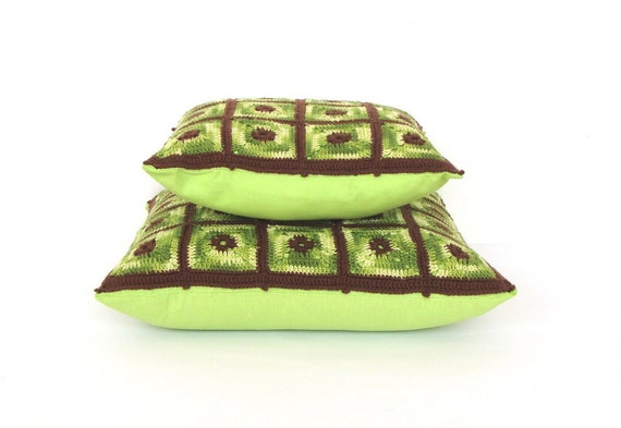 """Neon green crochet Cushion Pillow Cover set - 12'' and 15"""" free shipping"""