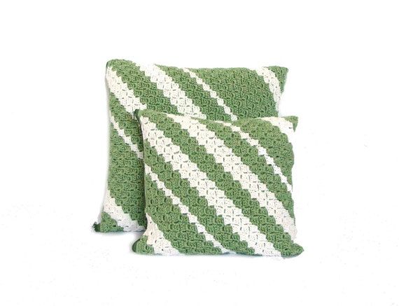 Sage garden crochet throw pillow, striped decorative pillow, 12x12 and 15x15 inches accent pillow set, color block striped sofa pillow
