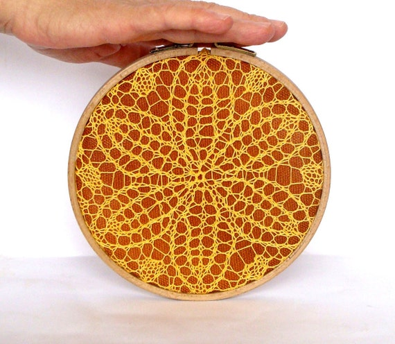 Embroidery Hoop Art - yellow knitted lace - wall hanging house decoration - 6""