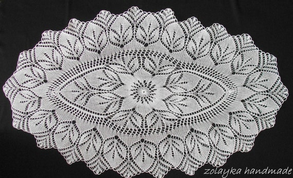 Knitted Table Runner Lace Pattern : Hand Knitted Oval Lace oval runner tablecloth throw