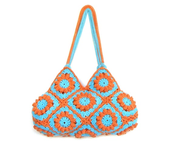 Flower crochet purse in turquoise and orange, crochet bag, shoulder bag, handbag
