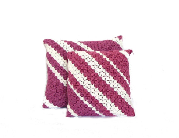 Eggplant Colored Throw Pillows : Eggplant decorative pillow set plum and white striped pillow