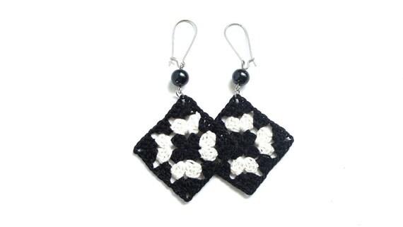 Black and white crochet square earrings , fiber earrings