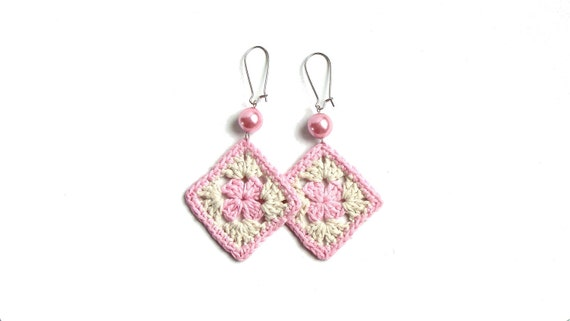 Pale pink and cream crochet square earrings, bead decorated, silver plated hooks