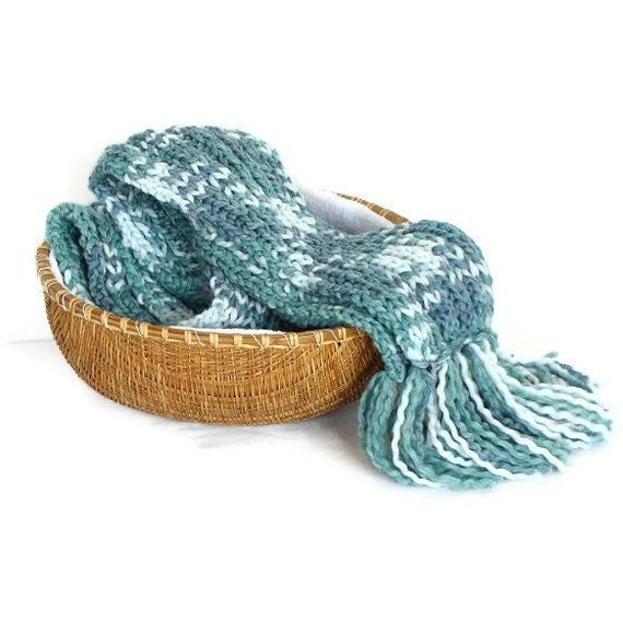 Winter scarf hand knit with fringes, extra long unisex