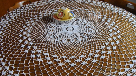 """Crocheted Round Cotton Tablecloth, ceneterpice """"Starshine"""" Free Shipping"""