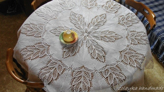 "Hand Knitted Lace Cotton tablecloth, ""Mariah"" 60 inches in diameter (150 cm), Free Shipping"