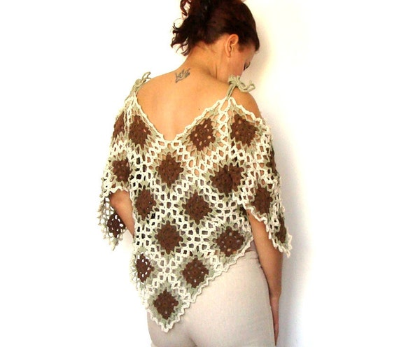 Lace crochet  poncho capelet tunic  -  pale brown beige green - spring summer - naked shoulders