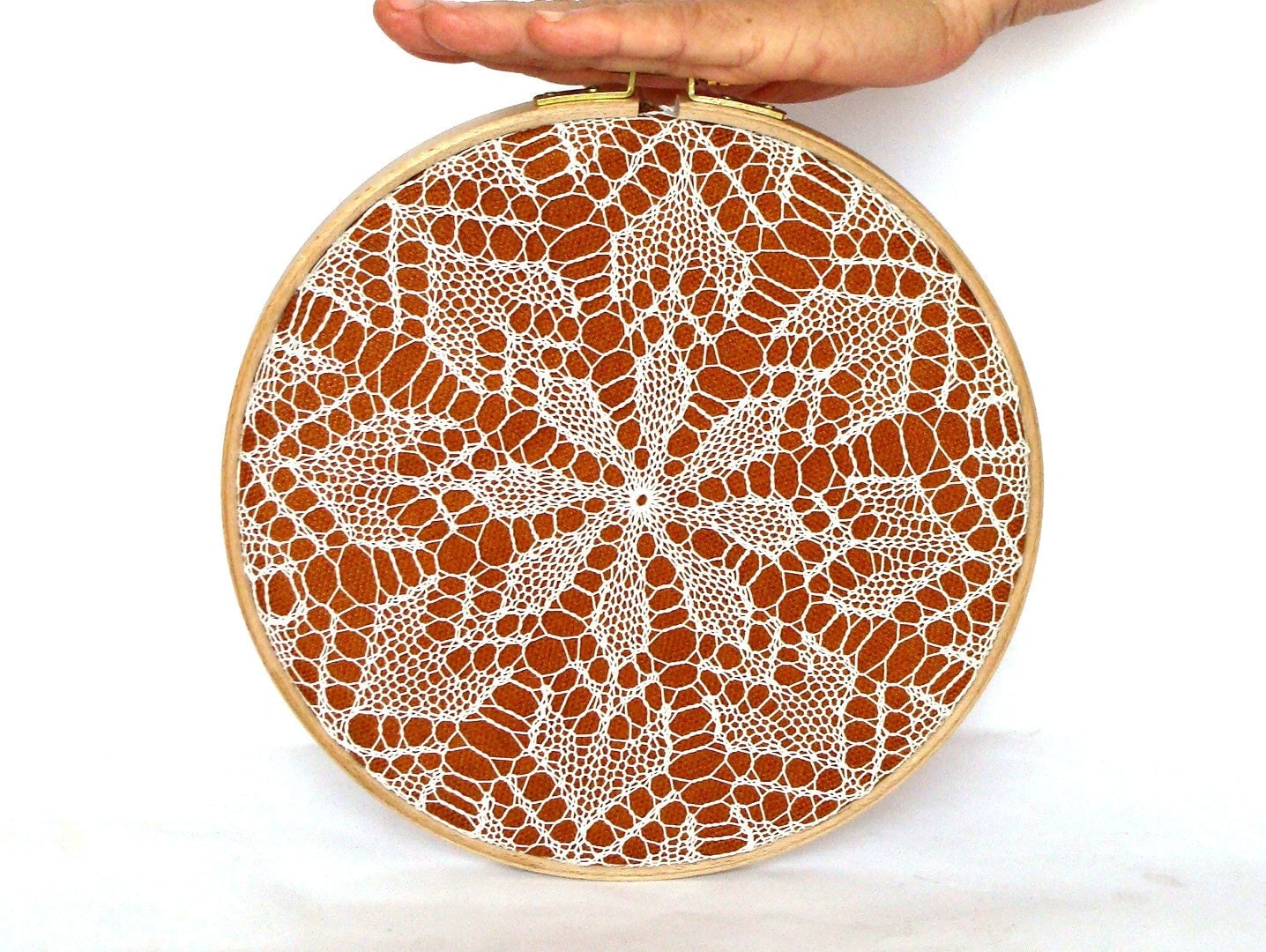 Embroidery hoop art knitted lace wall hanging house