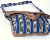 blue stripes bag , everyday bag , small and large , usefull purse , shoulder bag ,march trends,spring,summer,gift ideas,for her, by Seno