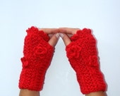 red gloves,FREE SHIPPING,Ready to Shipping,warm,soft,flowers,funny gloves,new winter trends,by SENO