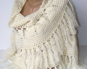 ivory crochet shawl,women accessories,poncho,women shawL,warm,soft,winter trends,for her,2012 new trends,bY SENO