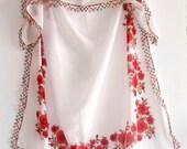 red Scarf Original Anatolian Yemeni scarf,white,green,red roses,100 cotton Scarf,floral shawl,gift ideas,turkish yemeni fabric